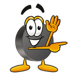Clip Art Graphic of an Ice Hockey Puck Cartoon Character Waving and Pointing