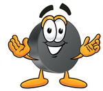 Clip Art Graphic of an Ice Hockey Puck Cartoon Character With Welcoming Open Arms