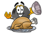 Clip Art Graphic of an Ice Hockey Puck Cartoon Character Serving a Thanksgiving Turkey on a Platter