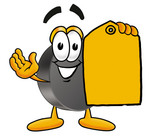 Clip Art Graphic of an Ice Hockey Puck Cartoon Character Holding a Yellow Sales Price Tag