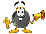 Clip Art Graphic of an Ice Hockey Puck Cartoon Character Holding a Megaphone