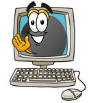 Clip Art Graphic of an Ice Hockey Puck Cartoon Character Waving From Inside a Computer Screen