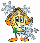 Clip Art Graphic of a Yellow Residential House Cartoon Character With Three Snowflakes in Winter