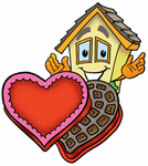Clip Art Graphic of a Yellow Residential House Cartoon Character With an Open Box of Valentines Day Chocolate Candies