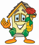Clip Art Graphic of a Yellow Residential House Cartoon Character Holding a Red Rose on Valentines Day