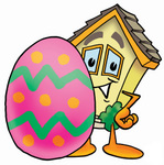 Clip Art Graphic of a Yellow Residential House Cartoon Character Standing Beside an Easter Egg