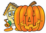 Clip Art Graphic of a Yellow Residential House Cartoon Character With a Carved Halloween Pumpkin