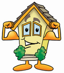 Clip Art Graphic of a Yellow Residential House Cartoon Character Flexing His Arm Muscles