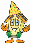 Clip Art Graphic of a Yellow Residential House Cartoon Character Wearing a Birthday Party Hat