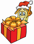 Clip Art Graphic of a Yellow Residential House Cartoon Character Standing by a Christmas Present