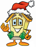 Clip Art Graphic of a Yellow Residential House Cartoon Character Wearing a Santa Hat and Waving
