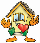 Clip Art Graphic of a Yellow Residential House Cartoon Character With His Heart Beating Out of His Chest