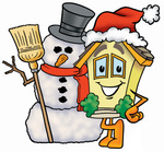 Clip Art Graphic of a Yellow Residential House Cartoon Character With a Snowman on Christmas