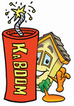 Clip Art Graphic of a Yellow Residential House Cartoon Character Standing With a Lit Stick of Dynamite