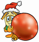 Clip Art Graphic of a Yellow Residential House Cartoon Character Wearing a Santa Hat, Standing With a Christmas Bauble