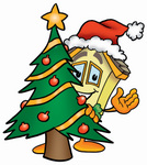 Clip Art Graphic of a Yellow Residential House Cartoon Character Waving and Standing by a Decorated Christmas Tree