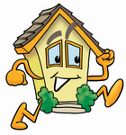 Clip Art Graphic of a Yellow Residential House Cartoon Character Running
