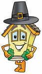 Clip Art Graphic of a Yellow Residential House Cartoon Character Wearing a Pilgrim Hat on Thanksgiving