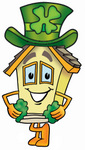 Clip Art Graphic of a Yellow Residential House Cartoon Character Wearing a Saint Patricks Day Hat With a Clover on it