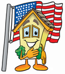 Clip Art Graphic of a Yellow Residential House Cartoon Character Pledging Allegiance to an American Flag