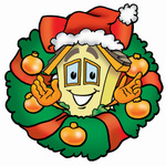 Clip Art Graphic of a Yellow Residential House Cartoon Character in the Center of a Christmas Wreath