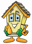 Clip Art Graphic of a Yellow Residential House Cartoon Character Pointing at the Viewer