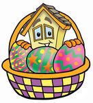 Clip Art Graphic of a Yellow Residential House Cartoon Character in an Easter Basket Full of Decorated Easter Eggs