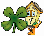 Clip Art Graphic of a Yellow Residential House Cartoon Character With a Green Four Leaf Clover on St Paddy's or St Patricks Day
