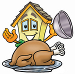 Clip Art Graphic of a Yellow Residential House Cartoon Character Serving a Thanksgiving Turkey on a Platter