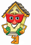 Clip Art Graphic of a Yellow Residential House Cartoon Character Wearing a Red Mask Over His Face