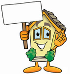 Clip Art Graphic of a Yellow Residential House Cartoon Character Holding a Blank Sign