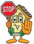 Clip Art Graphic of a Yellow Residential House Cartoon Character Holding a Stop Sign