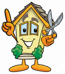 Clip Art Graphic of a Yellow Residential House Cartoon Character Holding a Pair of Scissors