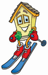 Clip Art Graphic of a Yellow Residential House Cartoon Character Skiing Downhill
