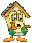 Clip Art Graphic of a Yellow Residential House Cartoon Character Whispering and Gossiping