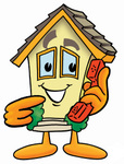 Clip Art Graphic of a Yellow Residential House Cartoon Character Holding a Telephone