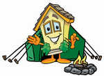 Clip Art Graphic of a Yellow Residential House Cartoon Character Camping With a Tent and Fire