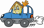 Clip Art Graphic of a Yellow Residential House Cartoon Character Driving a Blue Car and Waving