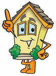 Clip Art Graphic of a Yellow Residential House Cartoon Character Pointing Upwards