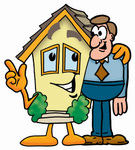 Clip Art Graphic of a Yellow Residential House Cartoon Character Talking to a Business Man