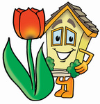 Clip Art Graphic of a Yellow Residential House Cartoon Character With a Red Tulip Flower in the Spring