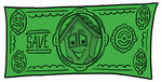 Clip Art Graphic of a Yellow Residential House Cartoon Character on a Dollar Bill