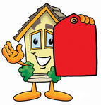 Clip Art Graphic of a Yellow Residential House Cartoon Character Holding a Red Sales Price Tag