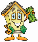 Clip Art Graphic of a Yellow Residential House Cartoon Character Holding a Dollar Bill