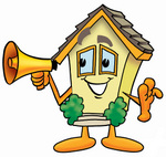 Clip Art Graphic of a Yellow Residential House Cartoon Character Holding a Megaphone