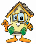 Clip Art Graphic of a Yellow Residential House Cartoon Character Looking Through a Magnifying Glass