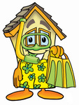 Clip Art Graphic of a Yellow Residential House Cartoon Character in Green and Yellow Snorkel Gear