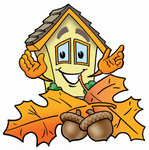 Clip Art Graphic of a Yellow Residential House Cartoon Character With Autumn Leaves and Acorns in the Fall