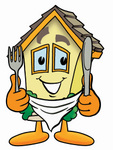 Clip Art Graphic of a Yellow Residential House Cartoon Character Holding a Knife and Fork
