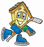 Clip Art Graphic of a Yellow Residential House Cartoon Character Playing Ice Hockey